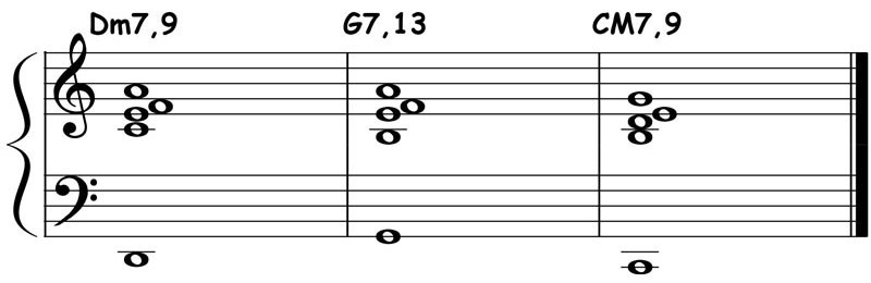 piano-ology-jazz-school-major-two-five-one-progression-etude-9-13-9-chord-voicings-variation-2-notation