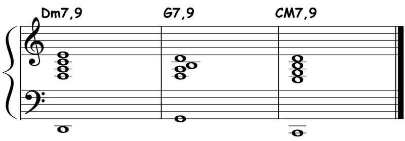piano-ology-jazz-school-major-two-five-one-progression-etude-9-9-9-chord-voicings-variation-1-notation