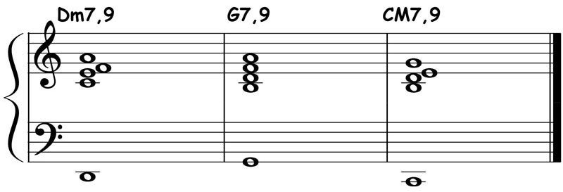 piano-ology-jazz-school-major-two-five-one-progression-etude-9-9-9-chord-voicings-variation-2-notation